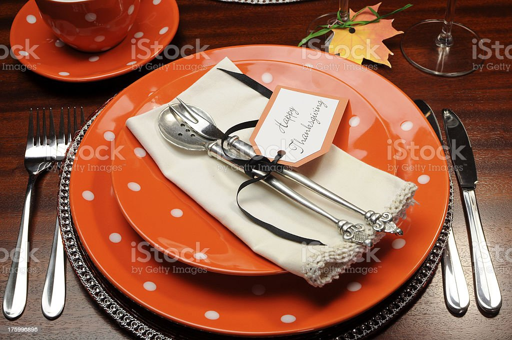 Beautiful Autumn Fall theme Thanksgiving dinner table place setting stock photo