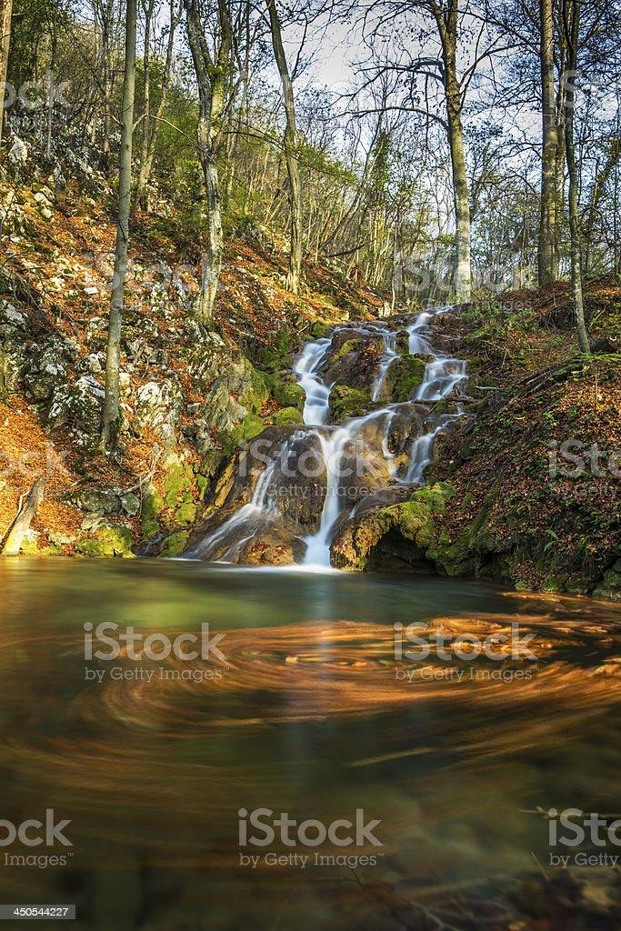Beautiful autumn foliage and waterfalls royalty-free stock photo