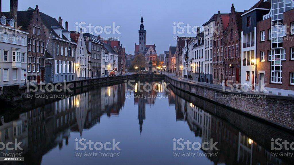 beautiful autumn in Bruges, Belgium stock photo