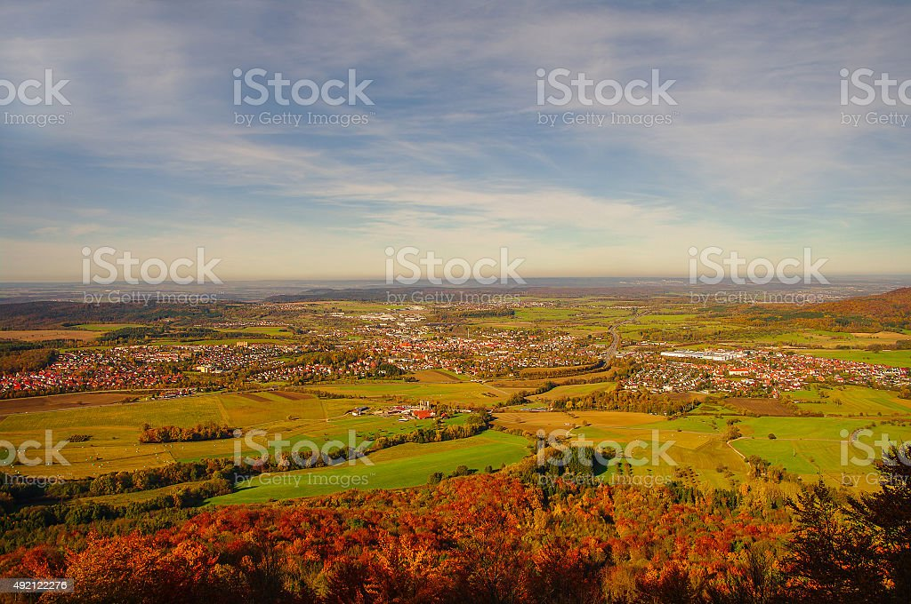 Beautiful Autumn in Hohenzollern Castle and around, Germany stock photo