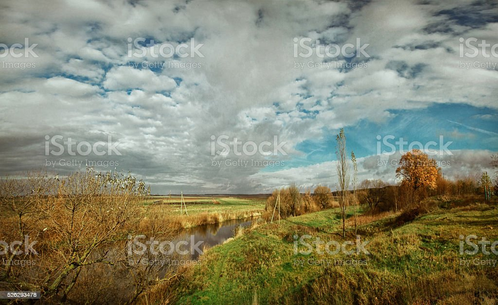 Beautiful autumn landscape at the morning park stock photo