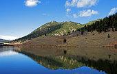 Beautiful autumn mountain and lake in Colorado