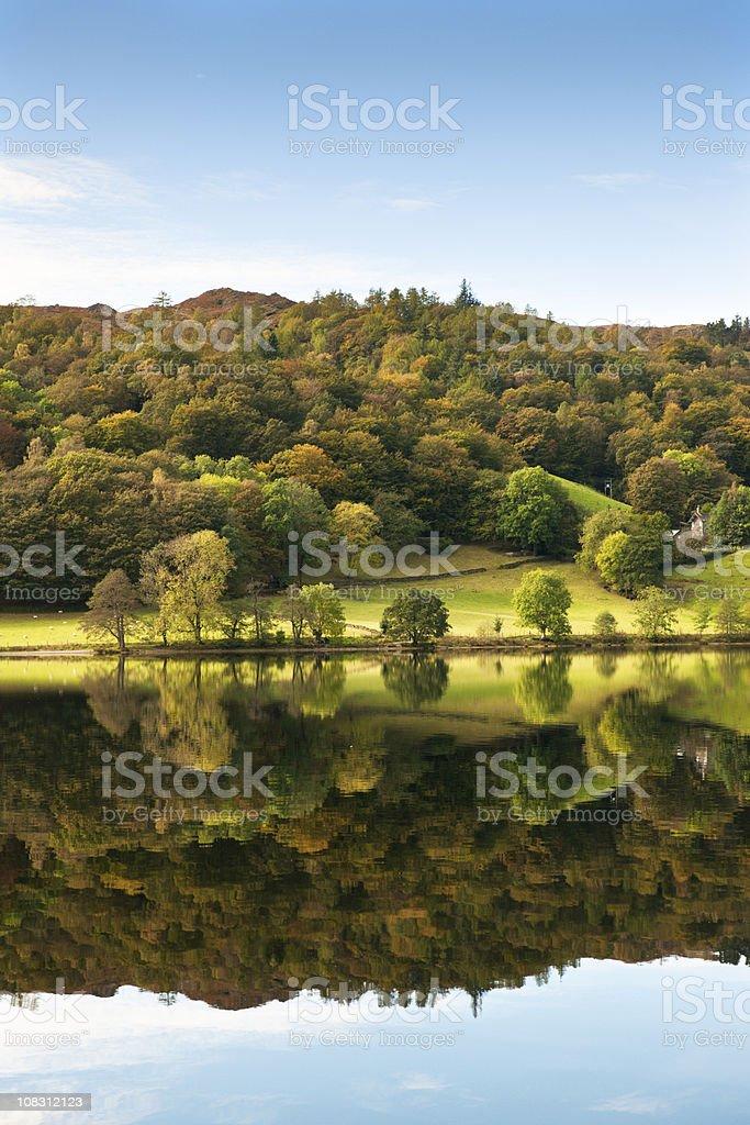 Beautiful Autumn Reflection Lake Grasmere stock photo