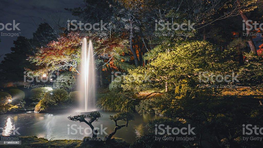 Beautiful autumn scenery of Japanese garden stock photo