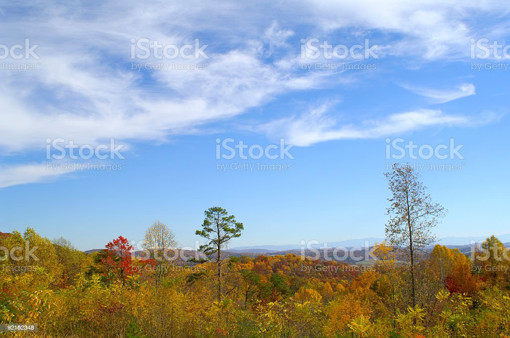 Beautiful Autumn Scenic with a Big Blue Sky royalty-free stock photo