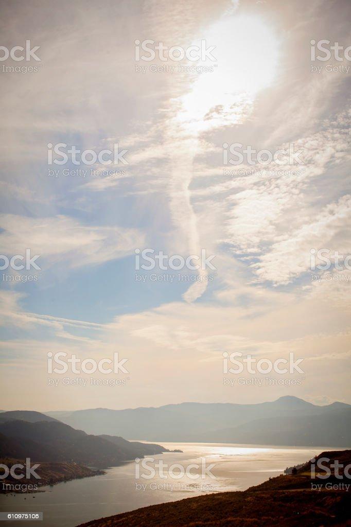 Beautiful autumn sky over Lake Okanagan stock photo