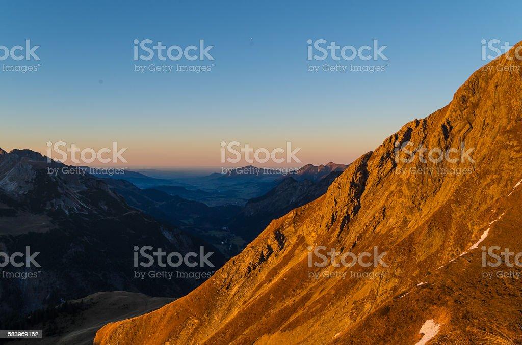 Beautiful autumn sunset in the mountains near Oberstdorf, Allgau, Germany stock photo
