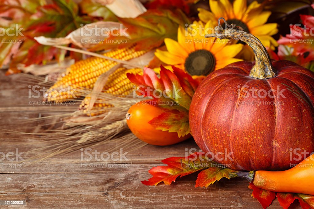 Beautiful Autumnal arrangement, featuring pumpkin royalty-free stock photo