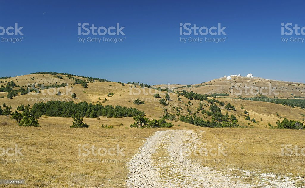 Beautiful autumnal landscape on Ai-Petri mountain tableland in Crimea stock photo