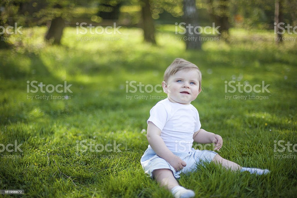Beautiful baby boy on green grass in summer royalty-free stock photo