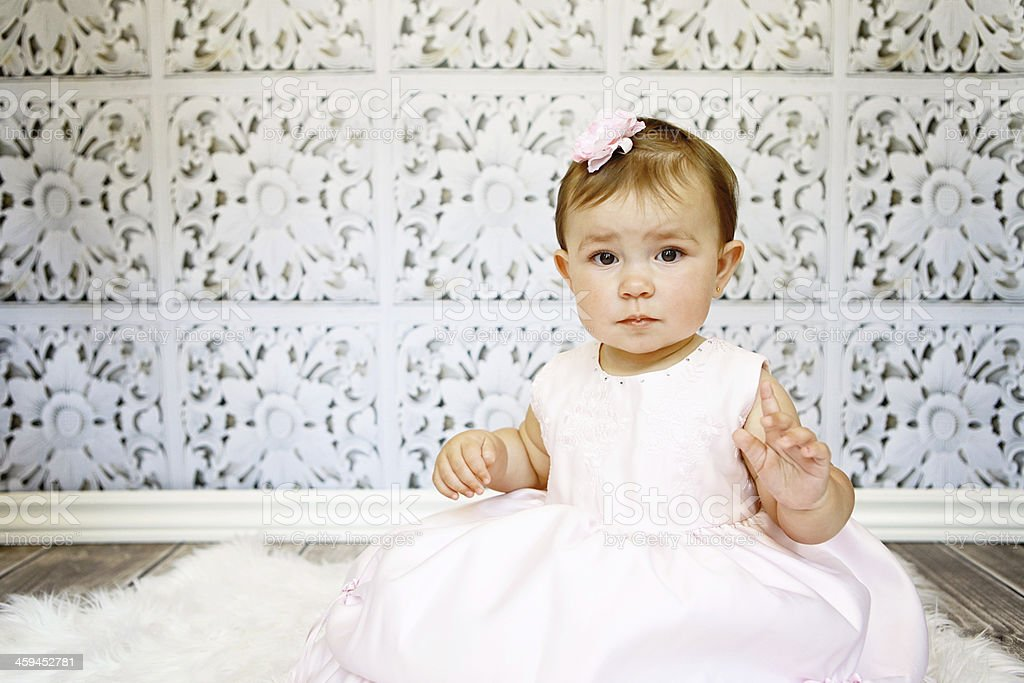 Beautiful Baby Girl in Pink Dress royalty-free stock photo