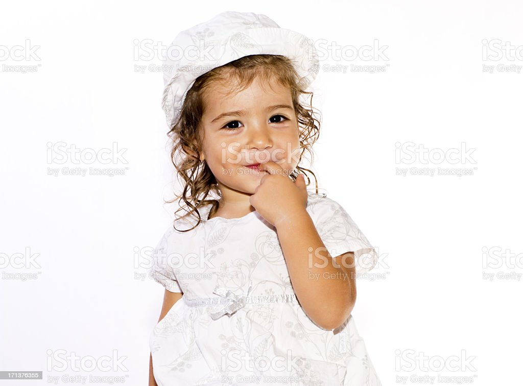 Beautiful Baby Girl Portrait (2-3 years) with Finger In Mouth royalty-free stock photo