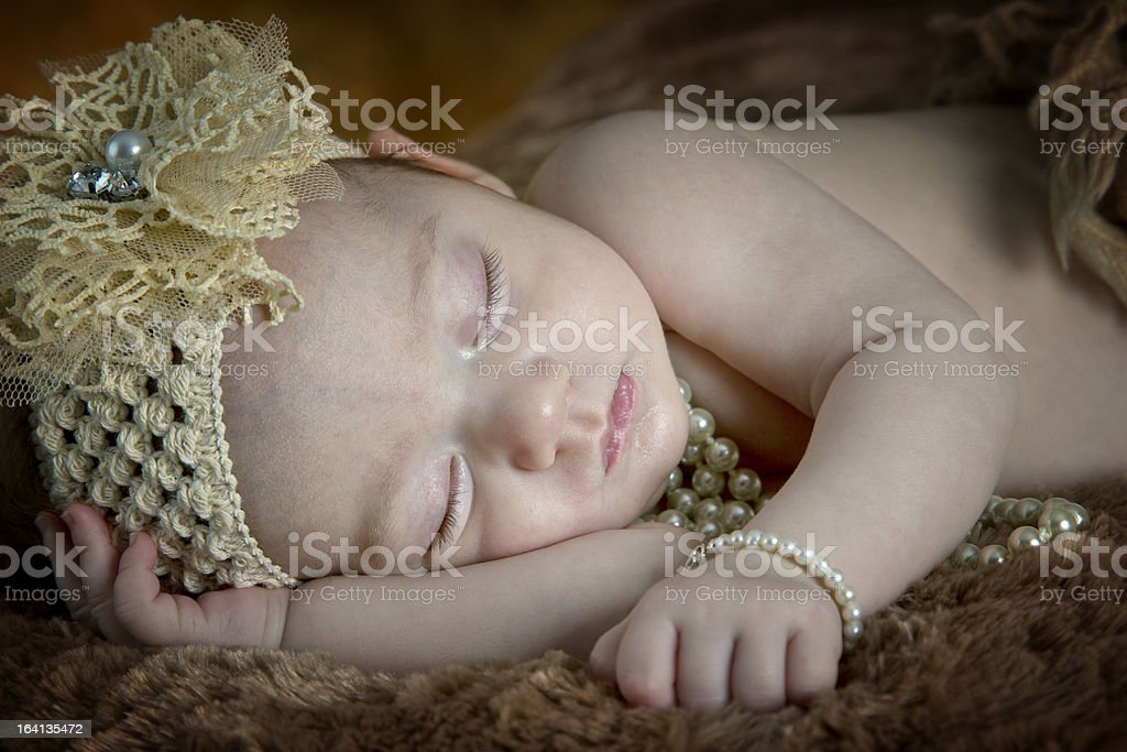 Beautiful baby girl sleeping royalty-free stock photo