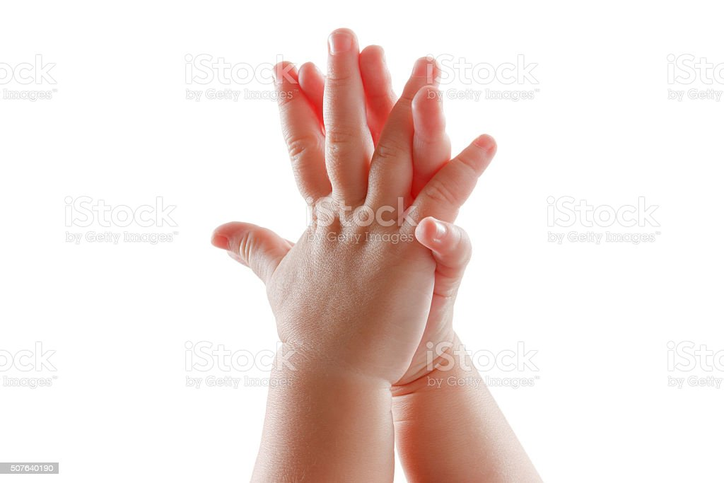 beautiful baby hands isolated on white background applause stock photo