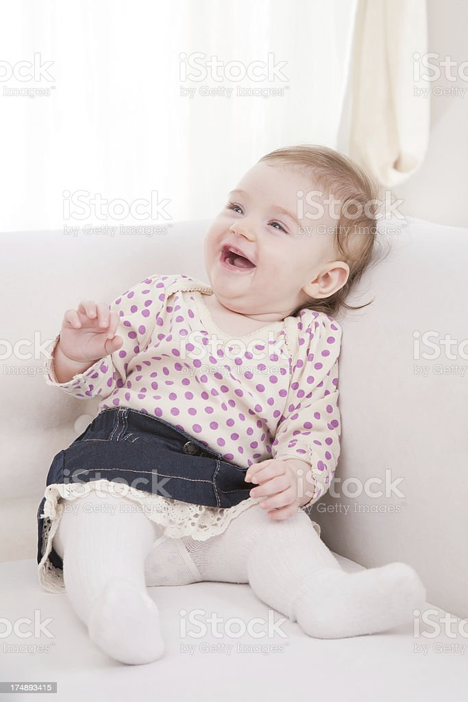 Beautiful baby laughing royalty-free stock photo
