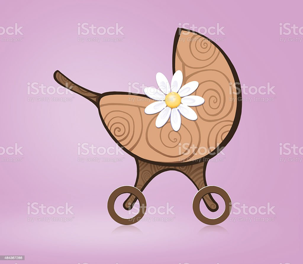 beautiful baby stroller on a pink background. flat illustrations stock photo