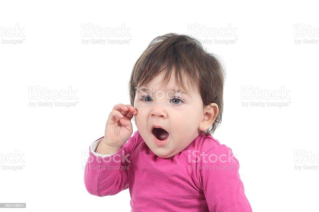 Beautiful baby yawning royalty-free stock photo