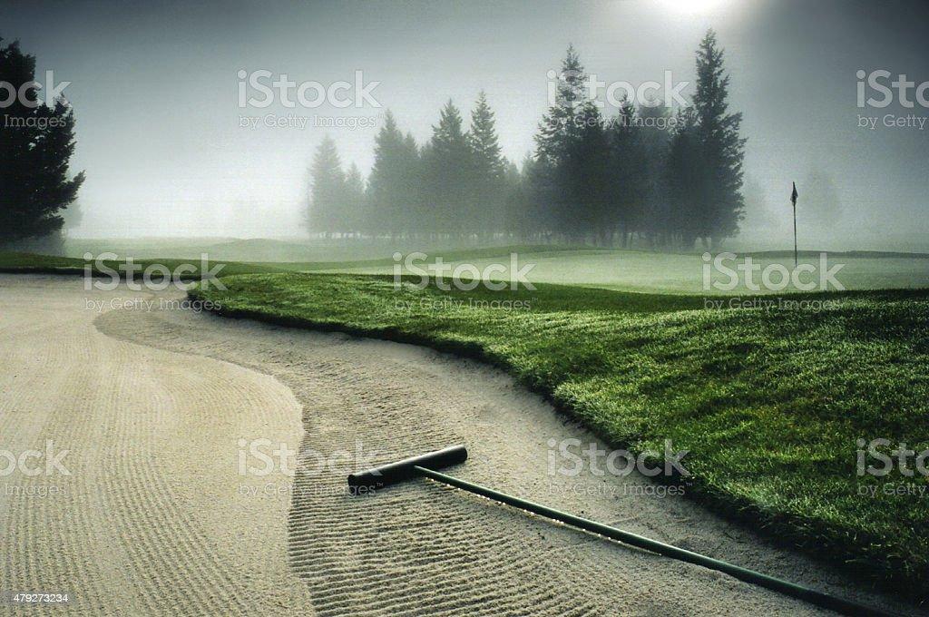 Beautiful Backlit Golf Green stock photo