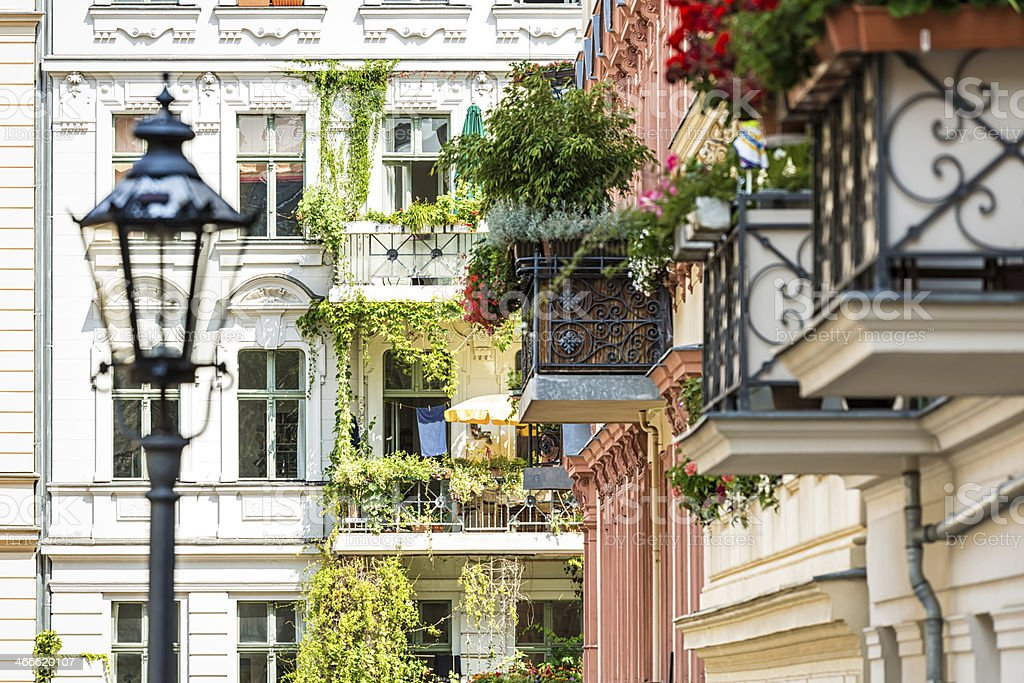 Beautiful balconies in Berlin stock photo