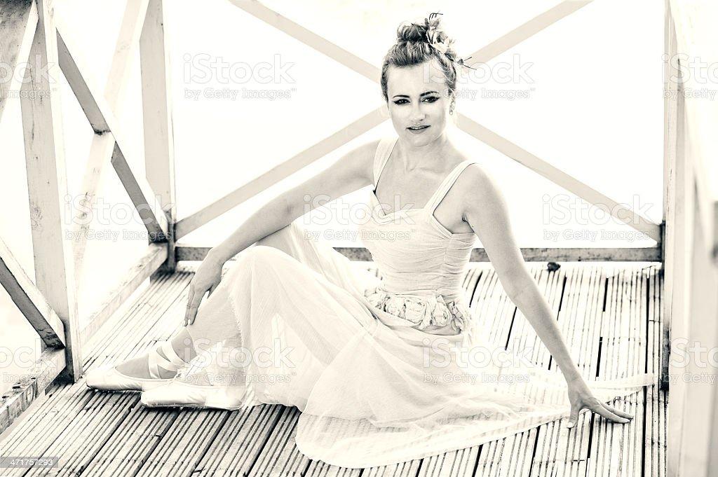 Beautiful ballet dancer at the lake royalty-free stock photo