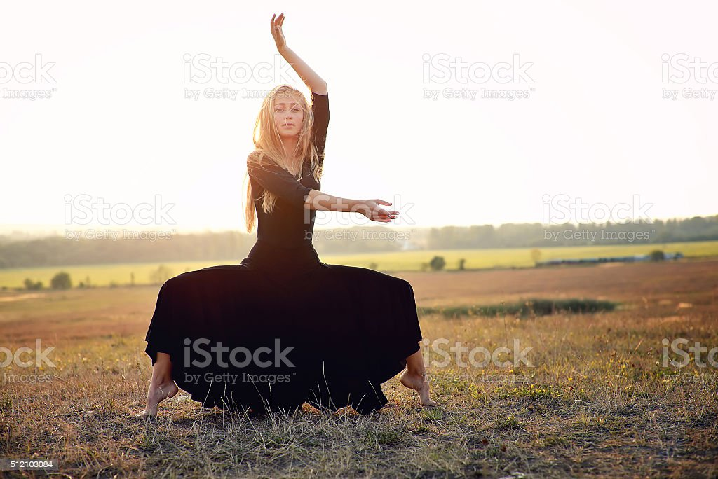 Beautiful ballet-dancer, modern style dancer stock photo