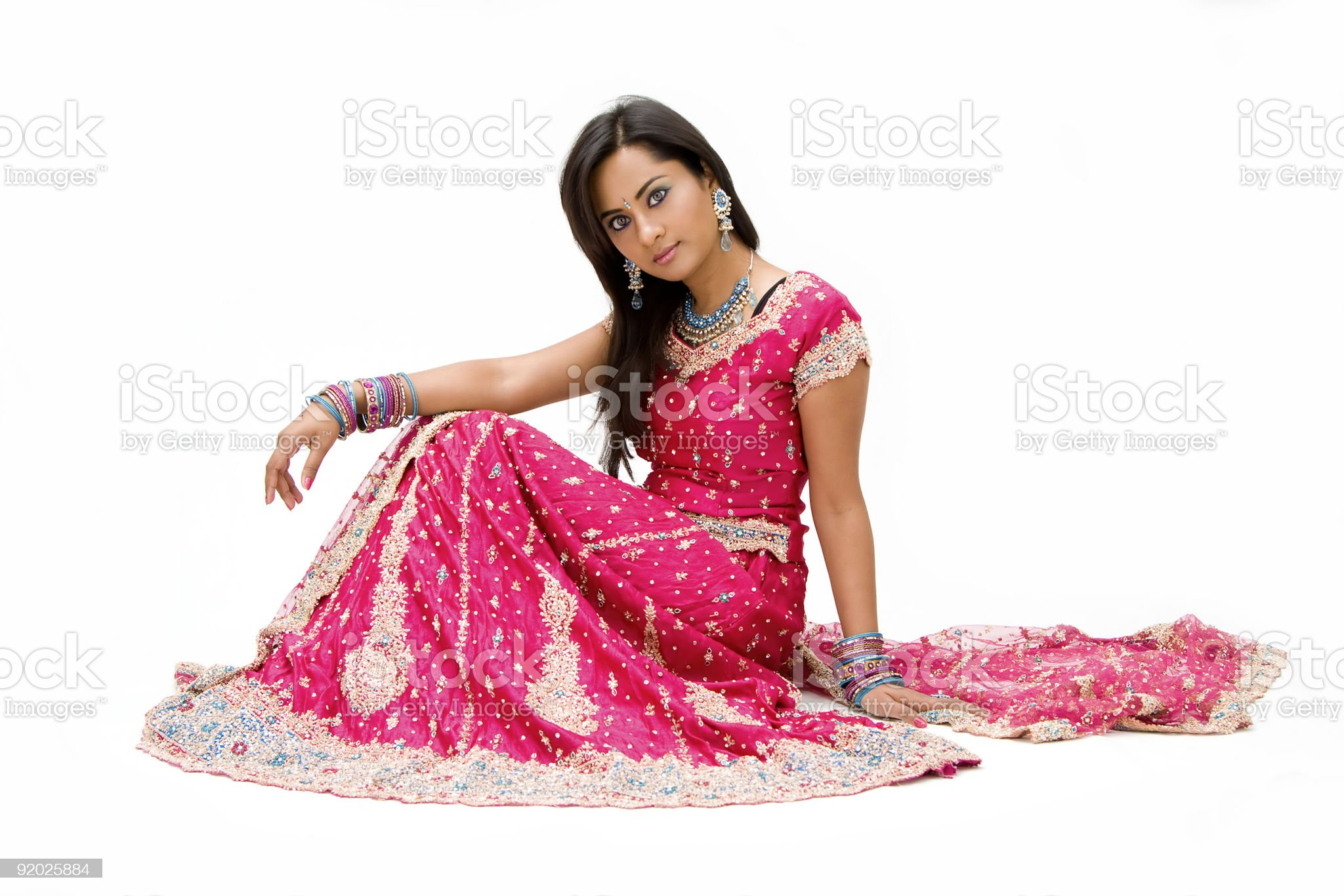 Beautiful Bangali bride sitting royalty-free stock photo