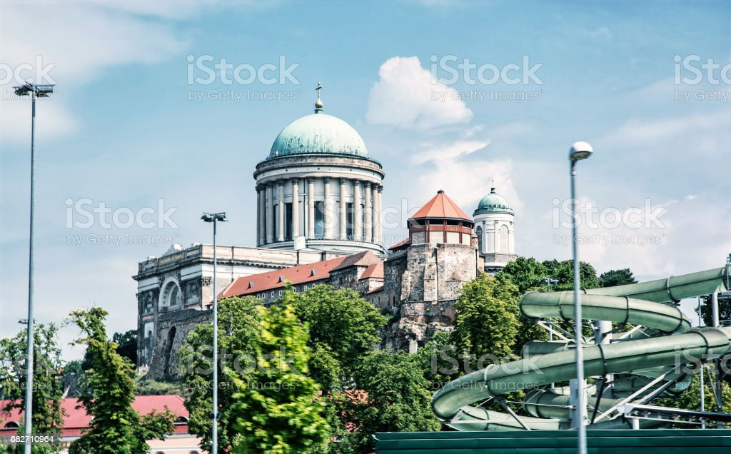 Beautiful basilica and water slide in the thermal spa and baths, photo filter stock photo