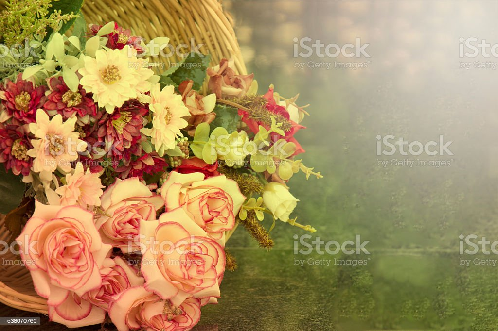 beautiful basket of flowers on a holiday in the garden. stock photo