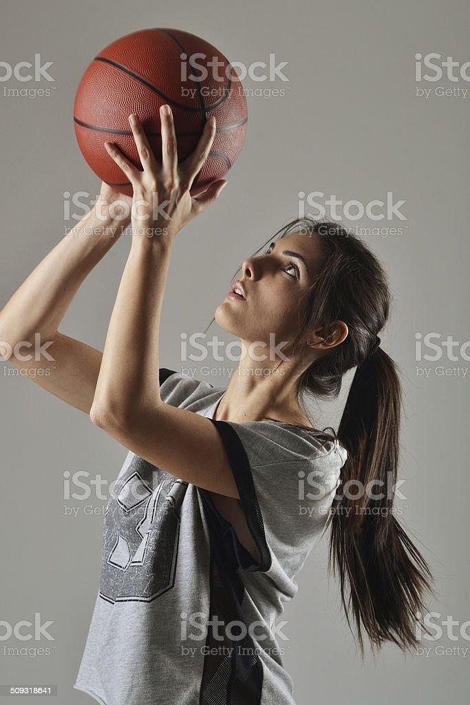 beautiful basketball woman stock photo