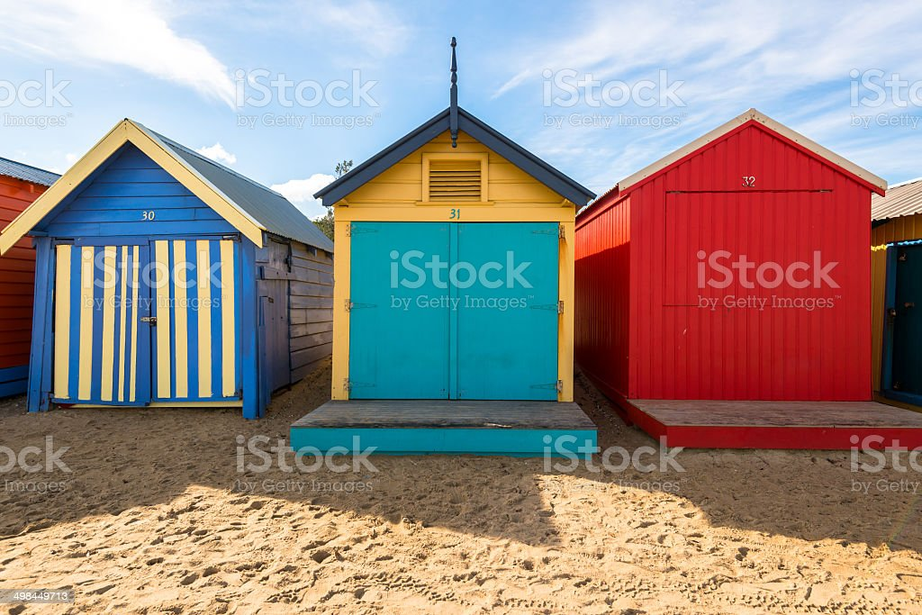 Beautiful Bathing houses on white sandy beach at Brighton beach stock photo