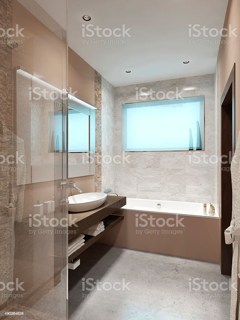 Beautiful bathroom in style hi-tech. stock photo