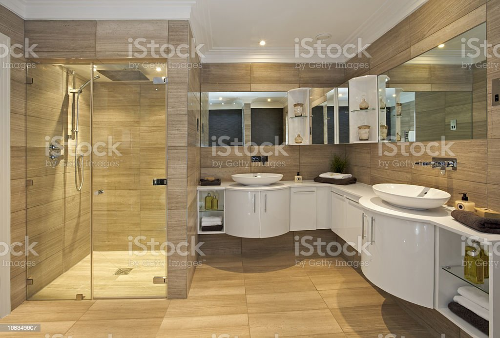 beautiful bathroom suite in fossil marble stock photo