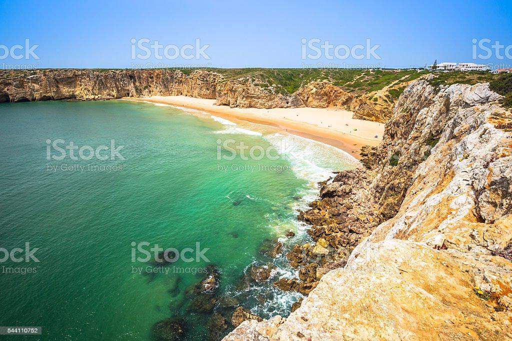 Beautiful bay and sandy beach of Praia do Beliche stock photo
