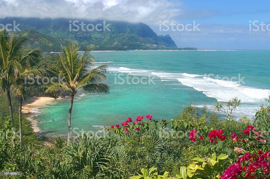 Beautiful Bay in Hawaii stock photo