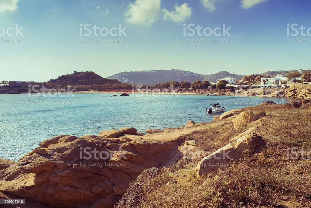 Beautiful bay in Mykonos stock photo