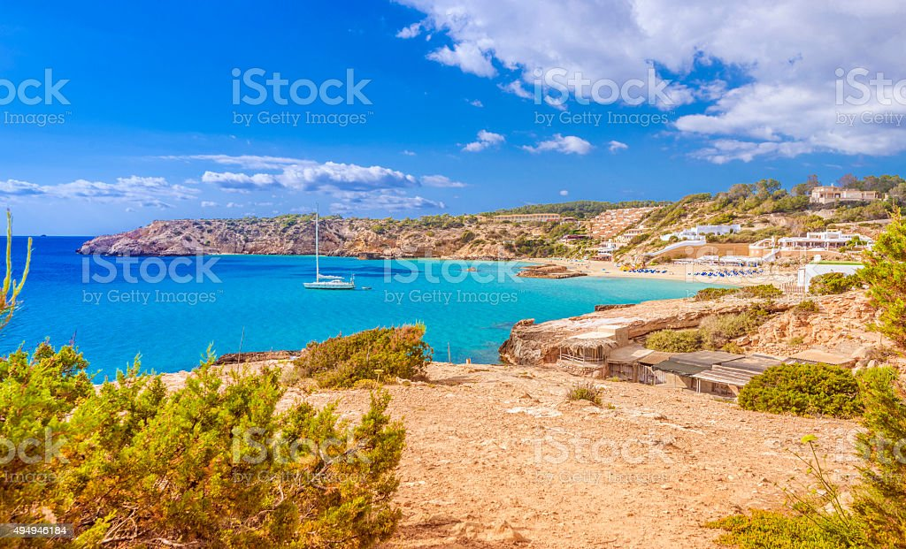 Beautiful Bay of Cala Tarida on Western Ibiza stock photo