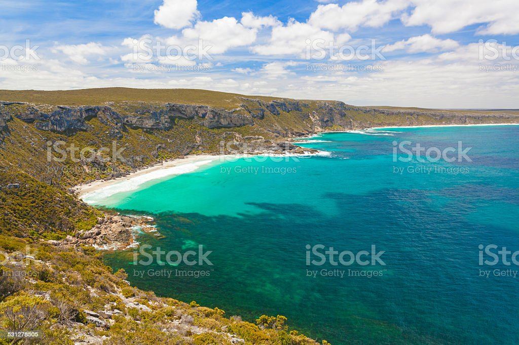 Beautiful bay on Kangaroo Island, South Australia stock photo