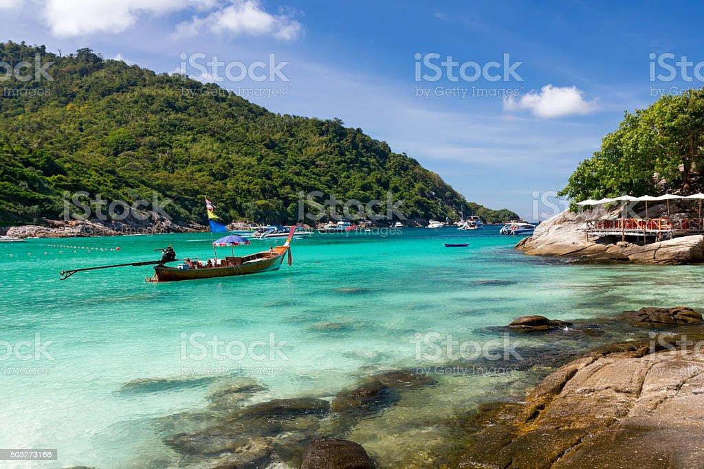 Beautiful bay on the Racha island, Thailand stock photo