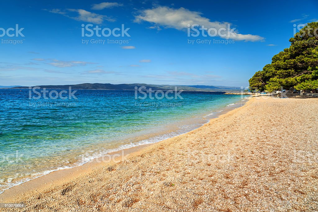 Beautiful bay with gravel beach,Brela,Makarska riviera,Dalmatia,Croatia stock photo