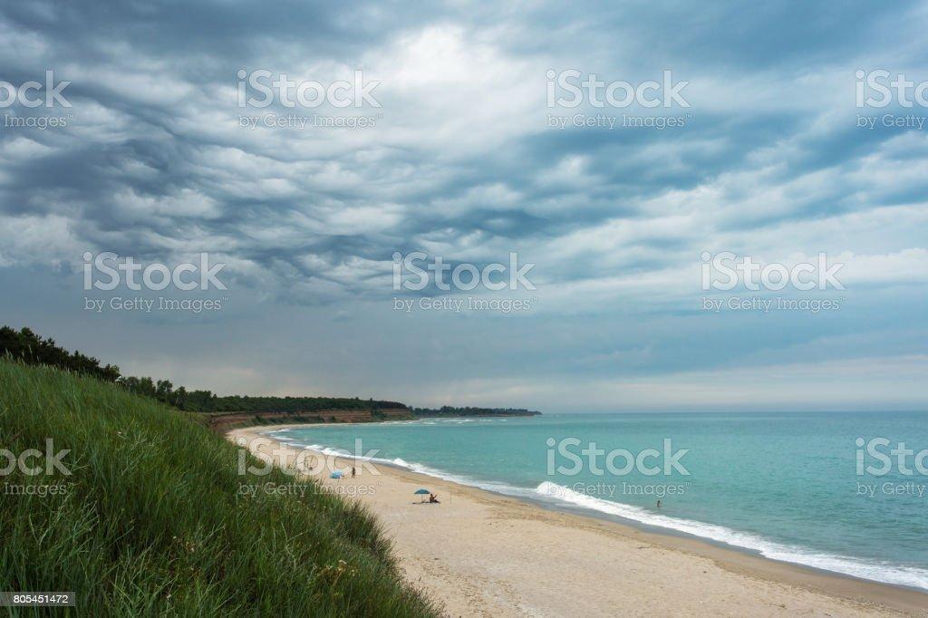Beautiful beach almoste empty with storm clouds in Ezerets, Bulgarya stock photo