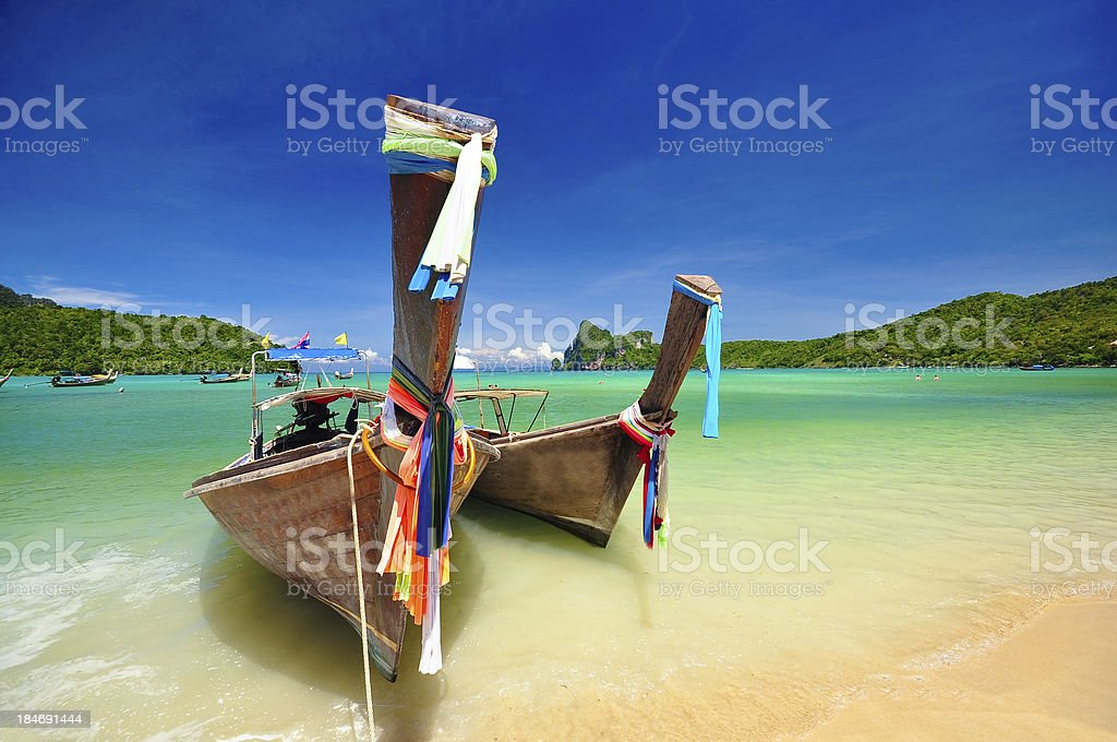 Beautiful beach and boat in Phuket, Thailand royalty-free stock photo