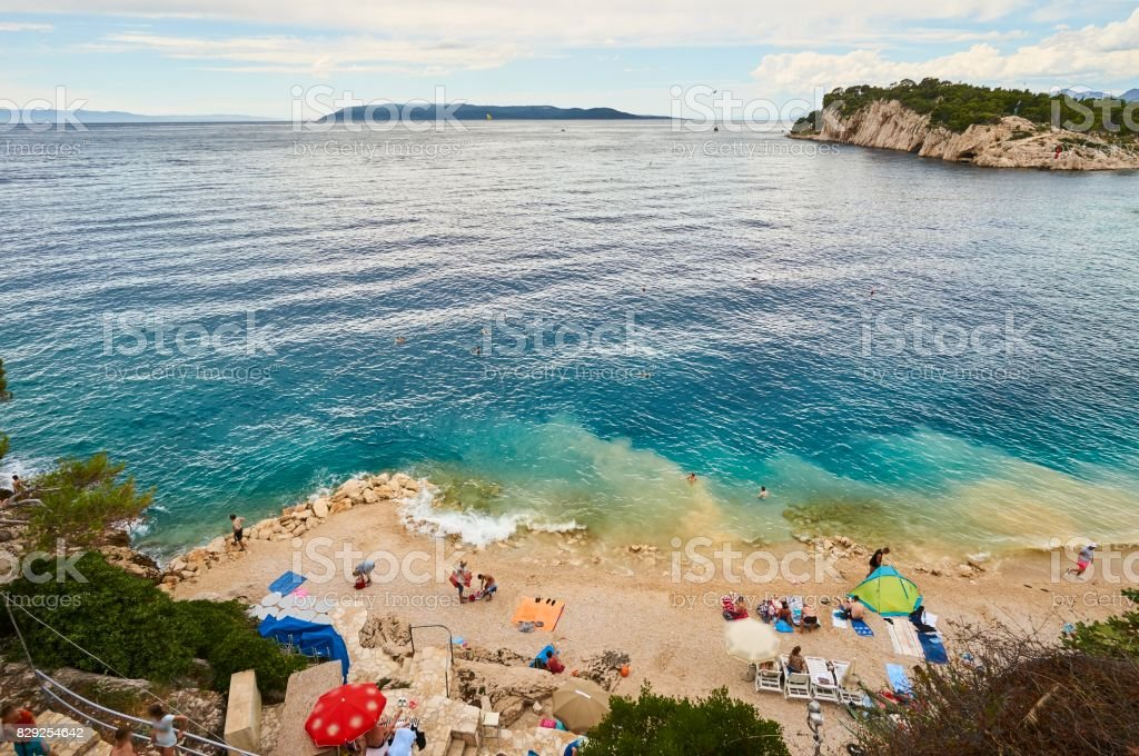 Beautiful beach and coast on Makarska in Croatia. stock photo