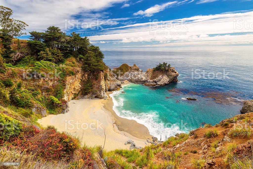 Beautiful beach and falls on California coast stock photo