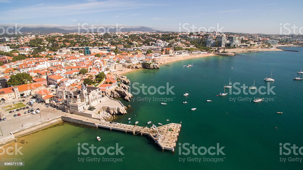 beautiful beach and marina of Cascais Portugal aerial view stock photo