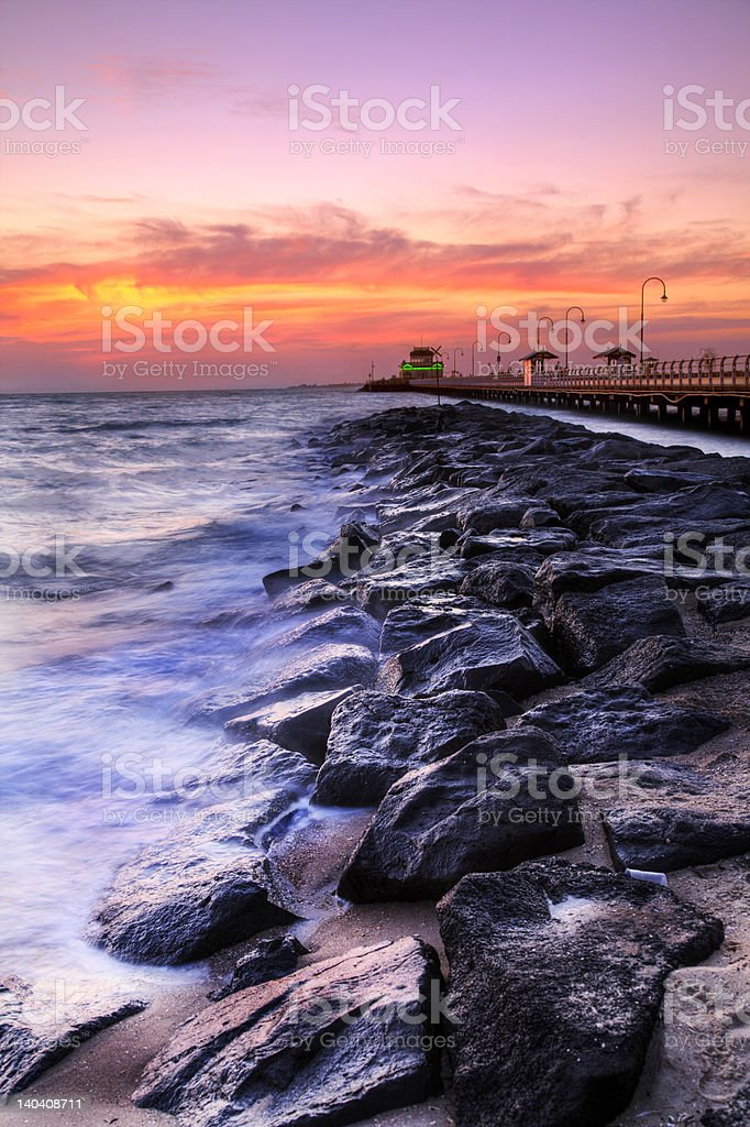 Beautiful Beach and Pier royalty-free stock photo