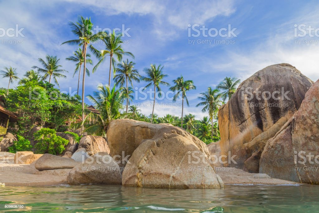 Beautiful beach and stones. Gentle sunlight. Coral Bay, Koh Samui, Thailand stock photo
