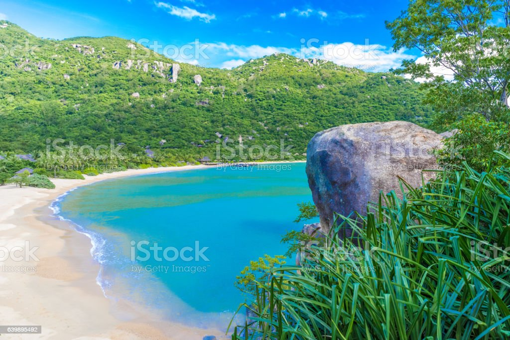 Beautiful beach at coast of Vietnam - Ninh van bay stock photo