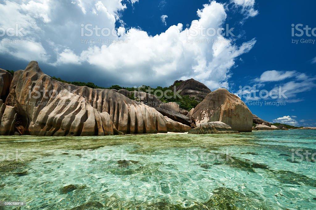 Beautiful beach at Seychelles stock photo
