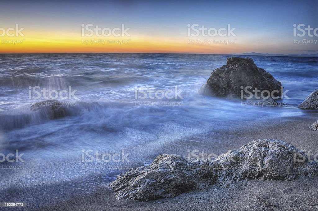 Beautiful beach at sunset in Lefkada,Greece stock photo