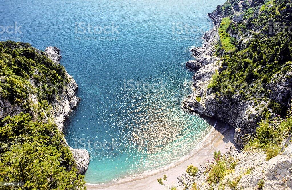 beautiful beach at the amalfitana in Italy stock photo